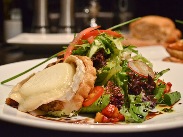 A warm goat cheese salad
