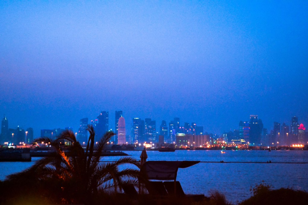 The spectacular Doha Skyline at dusk as photographed from the hotel